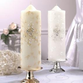 Pearl Garden Unity Candle with Free Tapers & Candle Sticks-a !wonderful candle stablizier