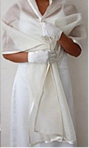 Silk Organza Wrap with Wide Satin Trim in Diamond Whiteor Ivory Silk