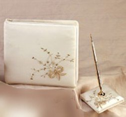 Champagne Bow Guest Book & Pen Set