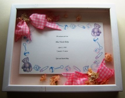 Custom Shadowbox Framed Baby Announcement