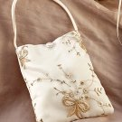 Champagne Bow Bridal Purse in Ivory with Champagne Embroidery