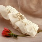 """Champagne Bow Garter with Keepsake """"Something Blue"""" Pin on Heart"""