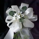 Satin & Silk Stephanotis Pew Bow in White