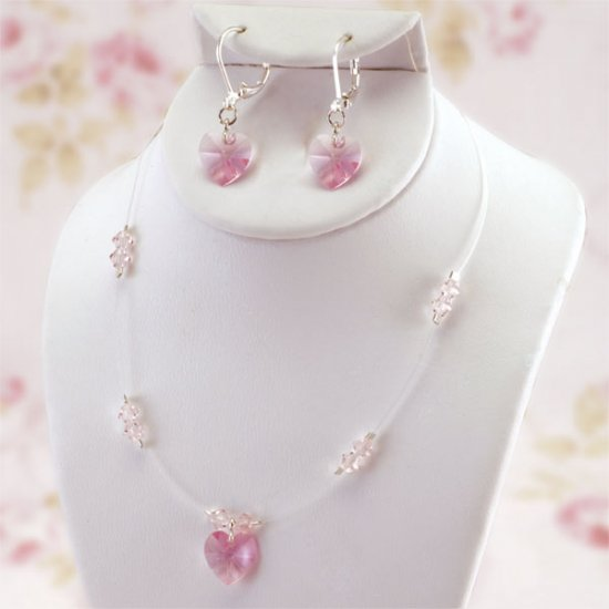 Sweet Heart Crystal  Flower Girl  3 Piece Jewelry Set