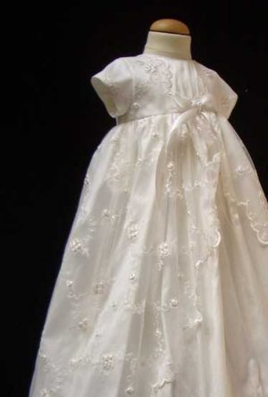 Embroidered English Net and Silk Christening Gown by Sarah Louise in Pure Ivory