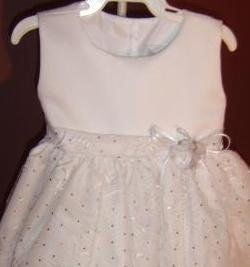 Silver  Sparkle Embroidered Organza & Satin Toddler Dress