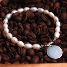 Simplicity Freshwater Pearl & Silver Personalized Bracelet