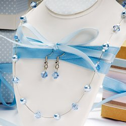 Colored Glass Pearl & Swarovski Crystal Earring & Necklace Set