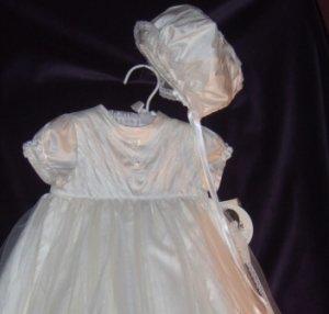 Sarah Louise Dupioni Silk & English Net & Chantilly LaceChristening Set #278