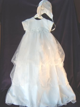 Tiers of Organza Christening Gown by Sarah Louise in Pure White