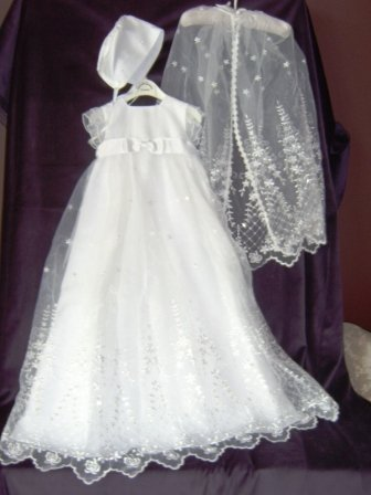 Sarah Louise White Embroidered & Beaded Christening Gown,Cape & Bonnet #120 in White