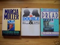 Lot of 3 HBDJ by Marcia Muller - Double, The Shape of Dread & Till the Butchers Cut Him Down