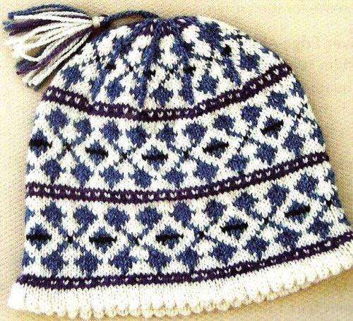 Watch Cap Knitting Pattern : HOW TO Knitting Pattern Winter Fair Isle Ski Hat Watch Cap ...
