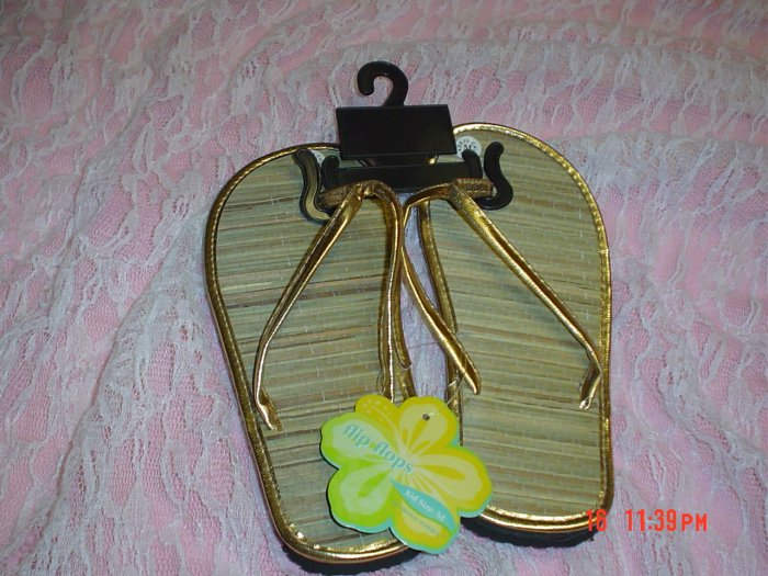 GIRL GOLD FLIP FLOPS/THONG-BAMBOO-NWT-SWEET!