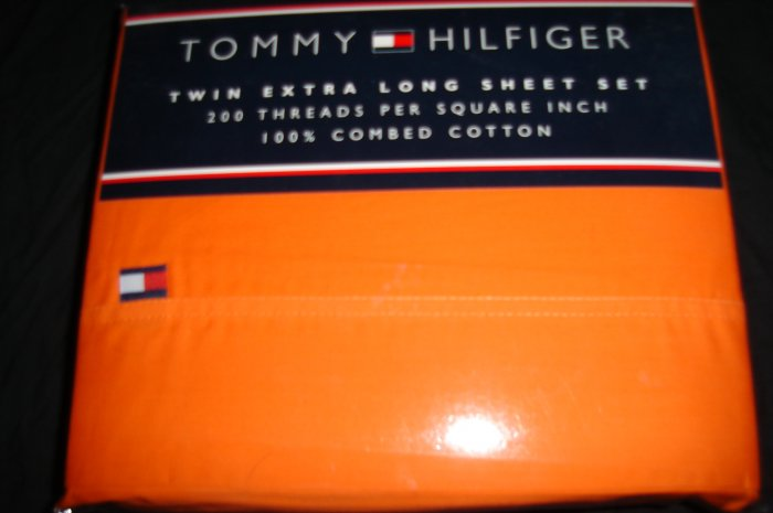 Tommy Hilfiger Solid Horizon Orange  Classic Twin XL Extra Long Dorm Bedding
