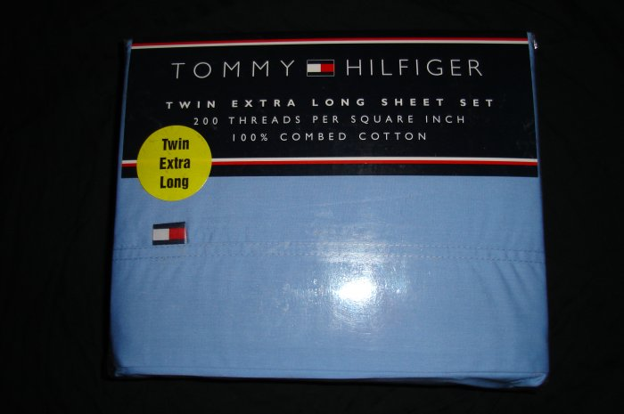 Tommy Hilfiger Solid Blue Twin XL Extra Long Sheet Set