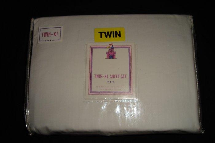 Solid WHITE Twin XL Extra Long Sheet Set 300TC Dorm Bedding