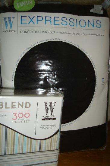 Wamsutta Black Comforter Set Twin XL Sheet Set 300 Thread Ct.  Dorm Bedding