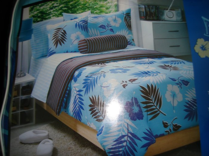 Tropical Aqua Blue Brown Twin Comforter Set Twin XL Sheet Set Dorm Bedding