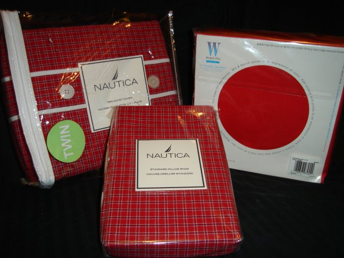 Nautica Tattersall Red Twin Duvet Cover Sham Twin XL Sheet Set Dorm Bedding
