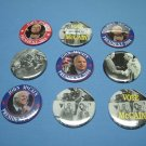 7 PACK of Pins or Buttons for PRESIDENTIAL HOPEFUL JOHN McCAIN for PRESIDENT 2008 Buttons Pinbacks