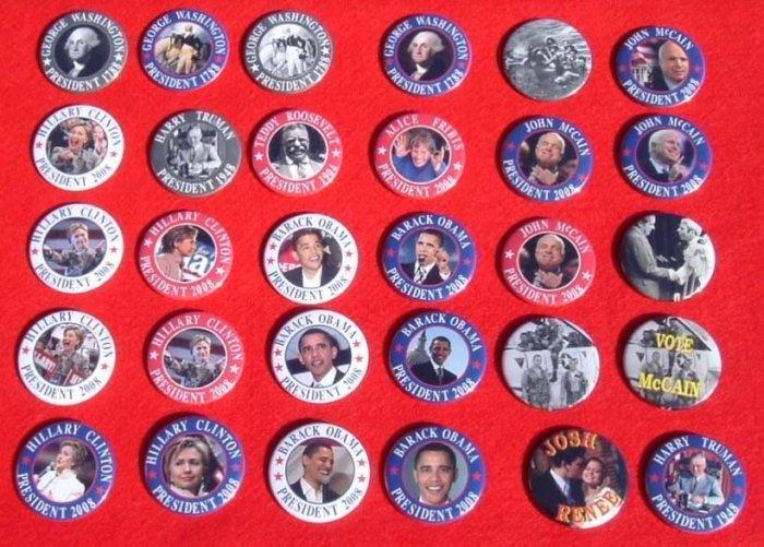 21 PACK OF 2008 PRESIDENTIAL CAMPAIGN BUTTONS SENATOR JOHN McCAIN BARACK OBAMA HILLARY CLINTON