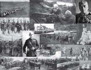 HISTORIC 15 PHOTO COLLAGE OF WORLD WAR I GAS BOMBS GERMAN SUBMARINE TRENCH WARFARE PERISCOPE WW1