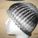 Gray waves skully knit hat