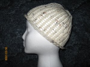 Cream Fleck skully knit hat