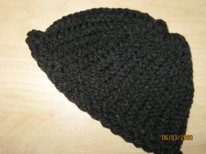 Child's dark gray rollup knit hat