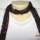 Black Fantasy crocheted skinny scarf
