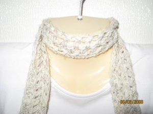 Cream & More crocheted scarf