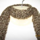 Brown Waves crocheted scarf with fringe