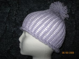 Lavender Puff rollup knit hat