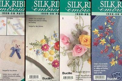 4 New Embroidery Ribbon Iron on Patterns ~Bucilla ~f