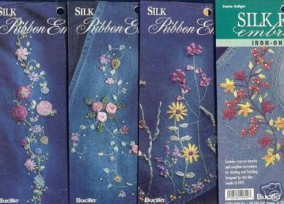 4 New Silk Embroidery Ribbon Iron on Patterns~Bucilla h