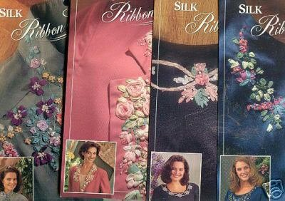 4 New EMBROIDERY Ribbon Iron on Patterns by Bucilla ~a