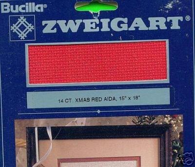 """Bucilla 14 ct. XMAS RED Aida 15"""" X 18"""" Fabric"""