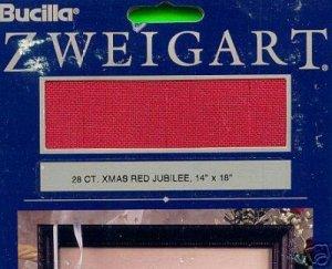 "Bucilla 28 ct. XMAS RED Jubilee 14"" X 18"" Fabric"