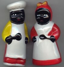 Chef and Aunt Jemima with spoons S & P shakers
