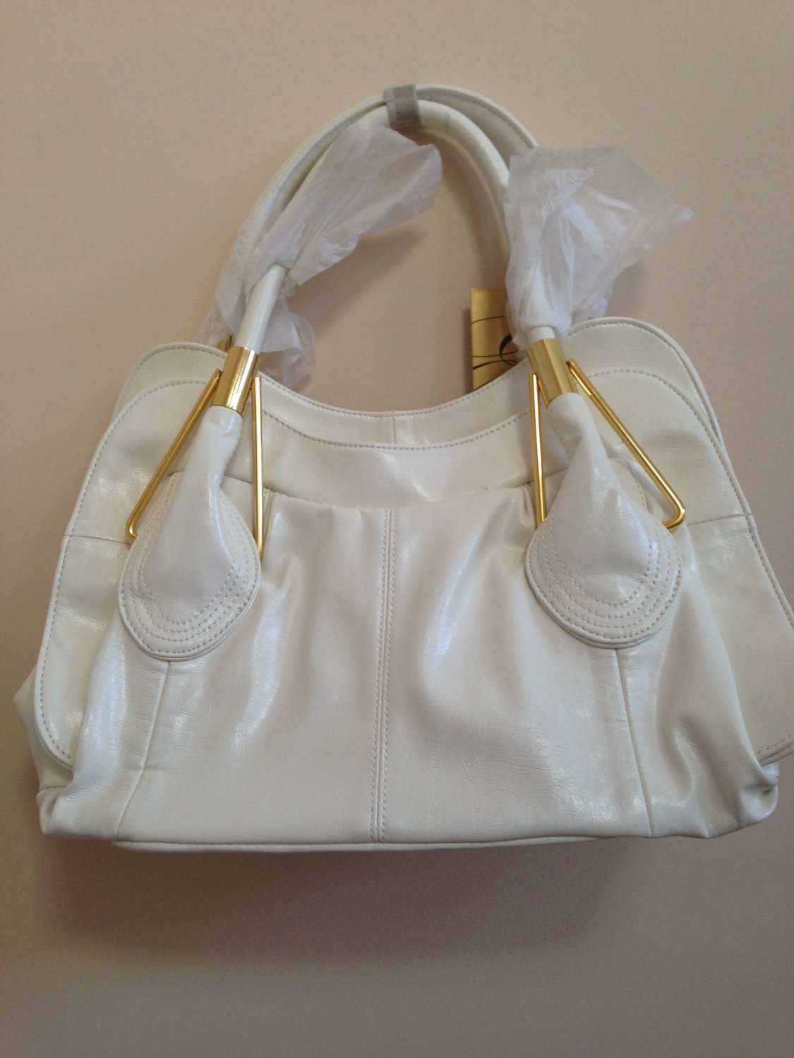 White Levone Faux leather handbag New with tags
