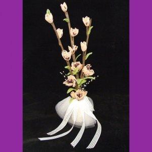 Peach Blooms & Pearls Bridal Bouquet