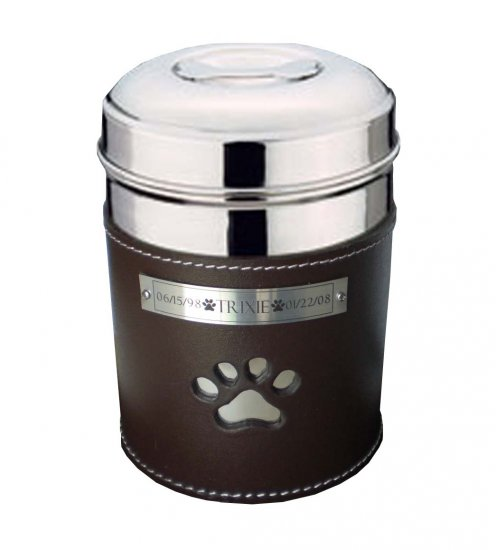PET LOSS SS/LEATHER PAWPRINT URN UP TO 70 LBS