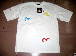 Evisu T-Shirt - White (3 Coloured Guls)