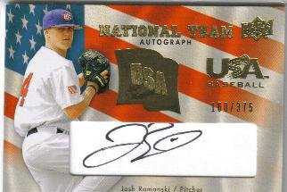 2008 Upper Deck Team USA National Team Autograph Josh Romanski #USA-JR (#'d 160/375)
