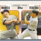 2010 Topps Baseball Legendary Lineage Mickey Mantle & Mark Teixeira (Yankees) #LL59