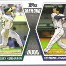 2011 Topps Baseball Diamond Duos Rickey Henderson (Athletics) & Desmond Jennings (Rays) #DD-HJ