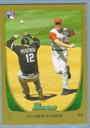 2011 Bowman Baseball GOLD Rookie Andrew Romine (Angels) #206