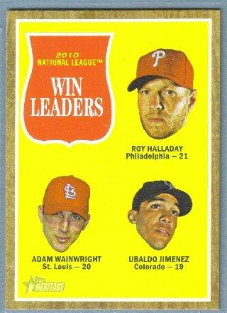 2011 Topps Heritage NL Win Leaders Roy Halladay / Adam Wainwright / Ubaldo Jimenez #58