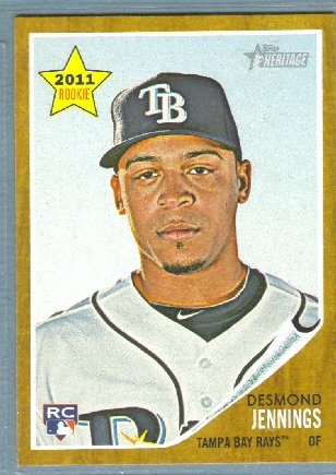 2011 Topps Heritage Baseball Rookie Desmond Jennings (Rays) #387